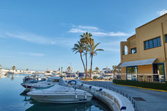 Marbella port with palmtrees Royalty Free Stock Images