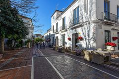 Beautiful street with traditional Andalusian architecture Stock Photo