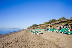 Marbella-Strand auf Costa Del Sol in Spanien Lizenzfreies Stockbild