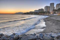 Marbella strand, Costa del Solenoid, Spanien Arkivfoto
