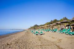 Marbella Strand op Costa del Sol in Spanje Royalty-vrije Stock Afbeelding