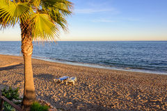 Marbella-Strandsonnenuntergang Stockbilder