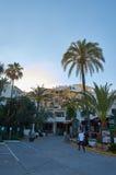 Marbella y palmtrees Foto de archivo libre de regalías