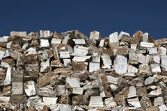 Marble. Gigantic pile of huge blocks of marble from an extraction industry in Portugal stock photos