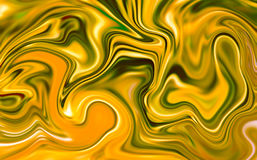 Marble abstract background digital illustration. Liquid gold surface artwork with yellow paint. Royalty Free Stock Photography