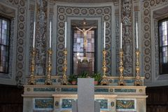 Marble Altar with Candelabrum inside Saint Andrea Church in Mantua -Italy.  Royalty Free Stock Photography