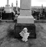 Marble Angel Statue in Old Cemetery Stock Photo