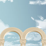 Marble arch and cloudy sky Stock Images