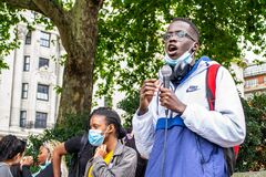 MARBLE ARCH, LONDON/ENGLAND- 6 September 2020: Activist speaking at the start of the All Black Lives UK protest.