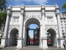 Marble Arch, London, UK. On a sunny May day,  with intricate pattern on the architecture and statue, Marble Arch London has re-defined itself Royalty Free Stock Images