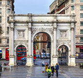 Marble Arch Red Bus Park Lane London England Royalty Free Stock Image