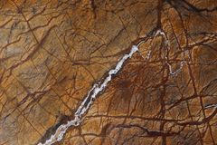 Marble background, natural stone of bright orange color with branched veins is called Bidasar Brown.  royalty free stock photography
