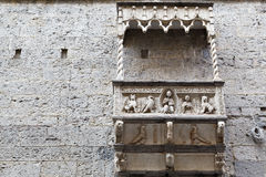 Marble Balcony and Relief in Genoa. Building with Marble Balcony and Relief in Genoa, Italy stock photo