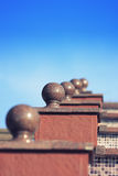 Marble balls. Bly sky.going upstairs Royalty Free Stock Photo