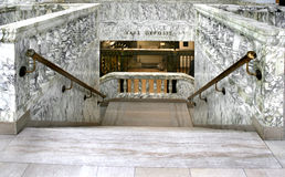 Marble bank stairs to Vault. With railings and gate Stock Photo