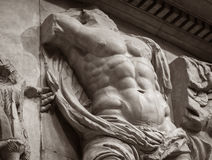 Marble bas-relief of ancient man muscle torso Stock Image