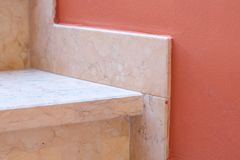 Marble baseboard at marble stairs. Closeup Stock Image