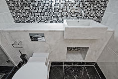 Marble bathroom with mosaic tiles Stock Image