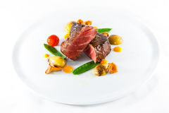 marble beef stake vegetables Stock Photos