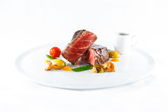 marble beef stake vegetables Royalty Free Stock Photography