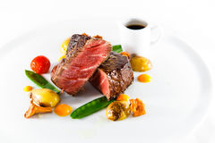 marble beef stake vegetables Stock Photo