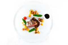 Marble beef stake vegetables. White plate Stock Photo