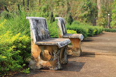 Marble benches in the public park Royalty Free Stock Photography