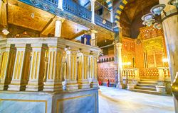 The marble Bimah in Ben Ezra Synagogue in Cairo, Egypt. CAIRO, EGYPT - DECEMBER 23, 2017: The stone Bimah in Ben Ezra Synagogue faces the Torah Ark, decorated royalty free stock photography