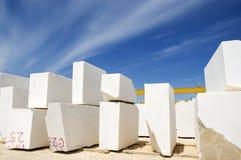 Marble blocks 1. Marble blocks aligned in factory yard, Alentejo, Portugal Stock Photo