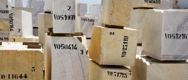 Marble blocks 8. Marble blocks aligned in factory yard, Alentejo, Portugal Stock Photos
