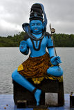 Marble blue wood statue of a Hinduism Stock Image