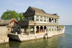 The Marble Boat. (ShiFang) look like a paddle steamer and it's a lakeside pavilion on the grounds of the Summer Palace in Beijing, China. It first erected in Royalty Free Stock Photos