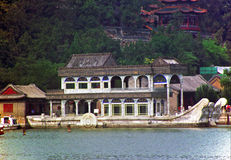Marble boat of empress Cixi in summer palace, Beijing, China. Royalty Free Stock Photo