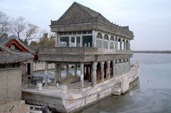 The Marble Boat On Frozen Lake Kunming At The Summer Palace In Beijing China Royalty Free Stock Images