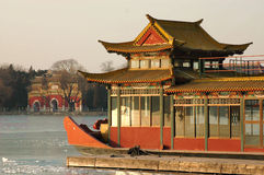 Marble boat of Summer palace. Marble boat on the Kunming lake, tranquil scene of chinese royal summer palace stock images