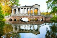 Marble bridge in Catherine park of Pushkin Stock Image