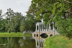 Marble bridge in Catherine park in the town of Pushkin Royalty Free Stock Photography