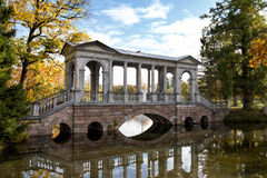 The Marble bridge in Catherine Park at Tsarskoye Selo (Pushkin) Stock Photos
