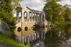 Marble Bridge in the Ekaterine Park.Tzarskoye selo Stock Photo