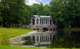 Marble Bridge in the park Tsarskoye Selo, Russia Stock Photography