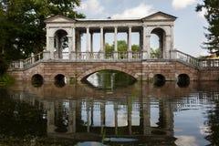 Marble Bridge in the park Tsarskoye Selo, Russia Royalty Free Stock Photography