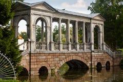 Marble Bridge in the park Tsarskoye Selo, Russia Stock Photo