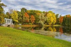 Marble bridge in Tsarskoye Selo (Pushkin), Saint-Petersburg in autumn Royalty Free Stock Image