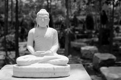Marble buddha statue. On black and white Royalty Free Stock Photo