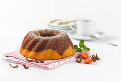 Marble bundt cake and coffee Royalty Free Stock Images