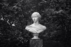 Marble bust of the Grand Duchess Alexandra in Petergof. Saint Petersburg, Russia Royalty Free Stock Image