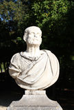 Marble bust of a man, in a garden. Detailed view of marble bust of a man, blurred trees in the background, palermo, sicily, portrait cut Stock Images