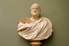 Marble bust of the roman emperor.  Stock Photos