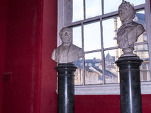 Marble Busts Exhibit in the Regimental Museum in the City Museum in Lancaster England in the Centre of the City Royalty Free Stock Photos