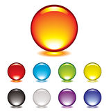 Marble button glow. Round gel button icon with glow and drop shadow Stock Photography